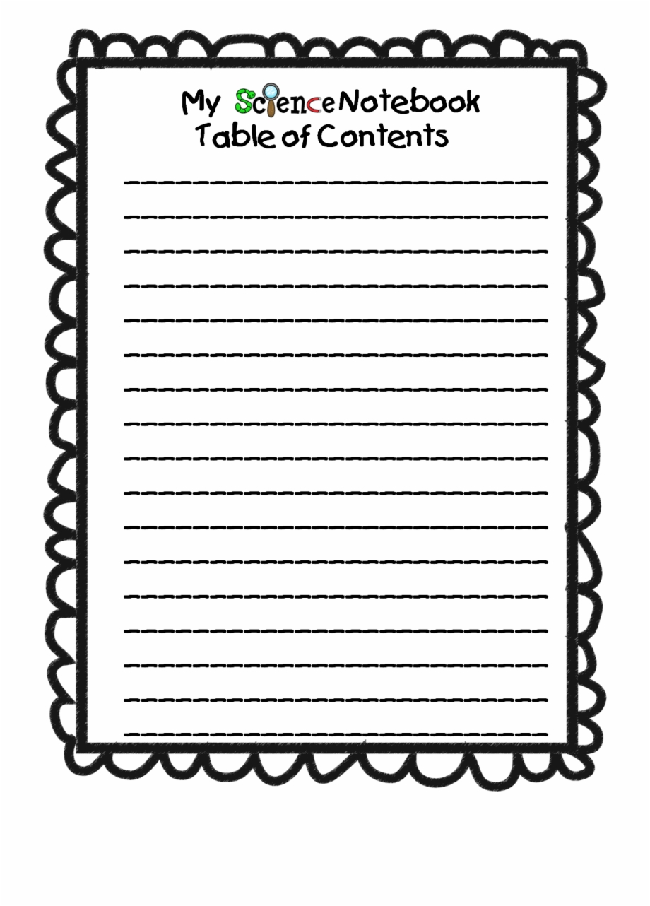 Science table of contents. Notebook clipart content page