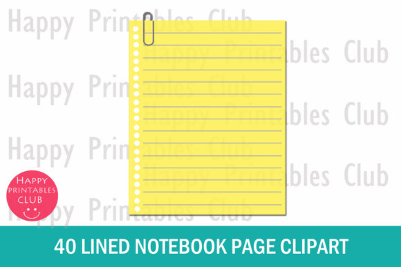 Notebook clipart content page. Lined