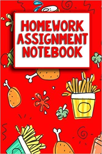 Junk food themed homework. Textbook clipart assignment notebook