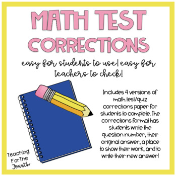 Notebook clipart math test. Correction form worksheets teaching