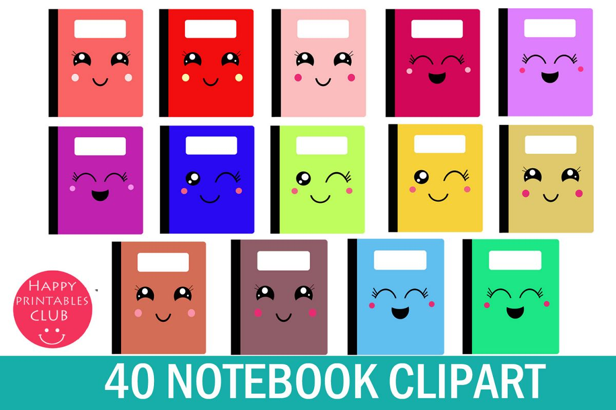 Kawaii page . Notebook clipart notebook cover