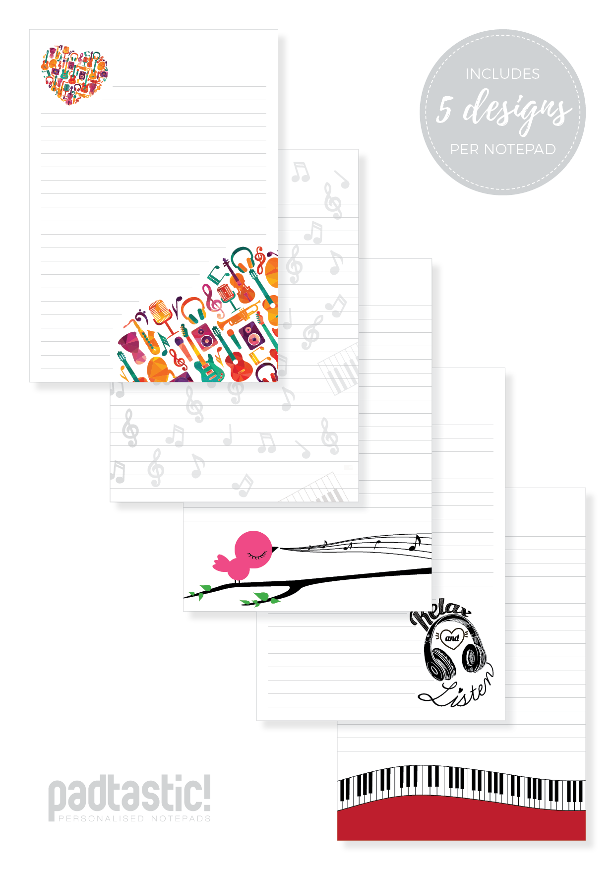 Notepad clipart notepad line. Music mixed design padtastic