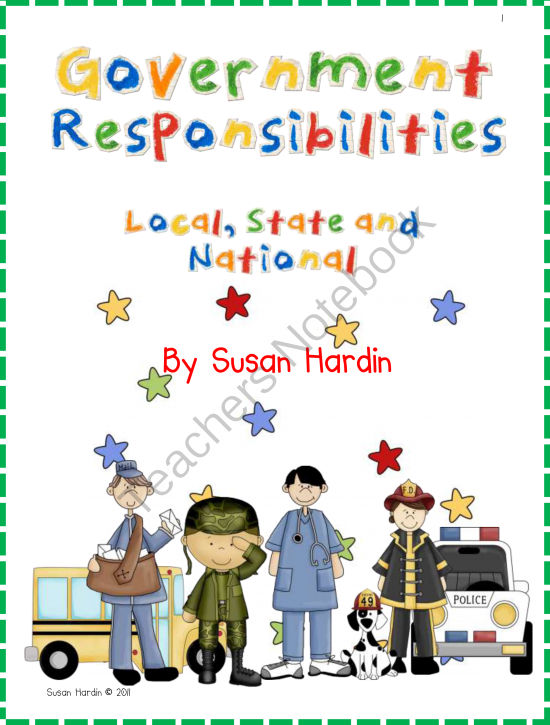 Government responsibilities local state. Notebook clipart social study