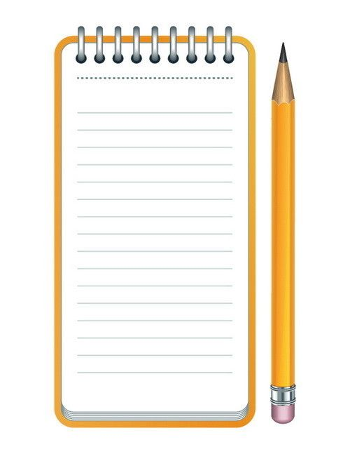 Notepad clipart cuaderno. Lined paper and pencil