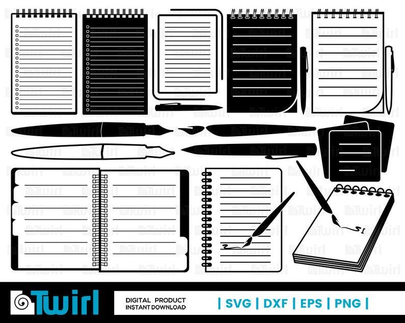 Notebook svg silhouette school. Notepad clipart journal pen