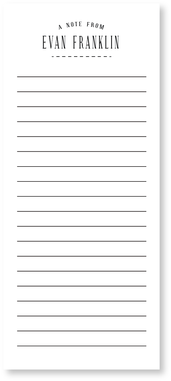 Notepad clipart notepad line. Custom personalized long lines