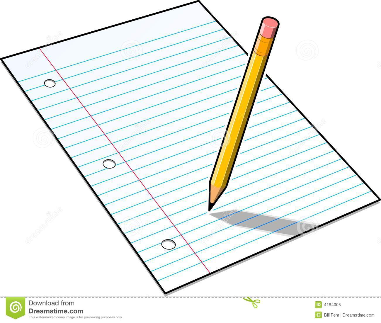 Notebook and pencil free. Paper clipart pdf