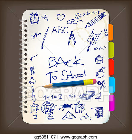 Notepad clipart poster. Vector art back to