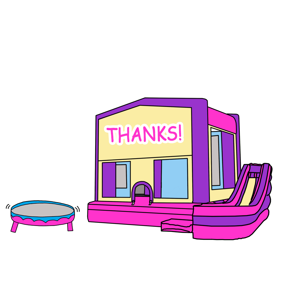 Bounce house birthday party. Thanks clipart pink