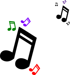 Notes clipart. Colored music clip art