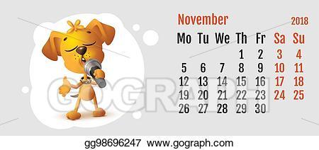 November clipart fun. Vector stock dog sings