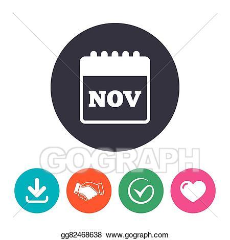 November clipart symbol. Eps vector calendar sign