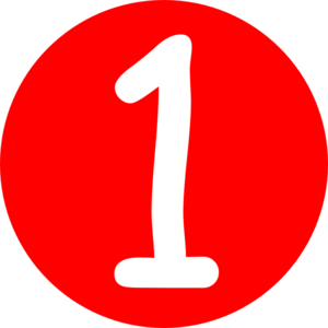 Red rounded with clip. Number 1 clipart