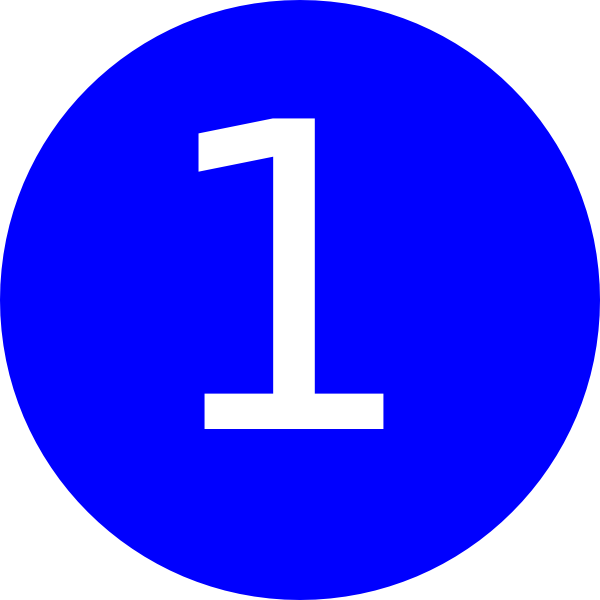 Number 1 clipart circle. Blue background clip art