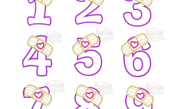 Birthday numbers applique spot. Number 1 clipart design