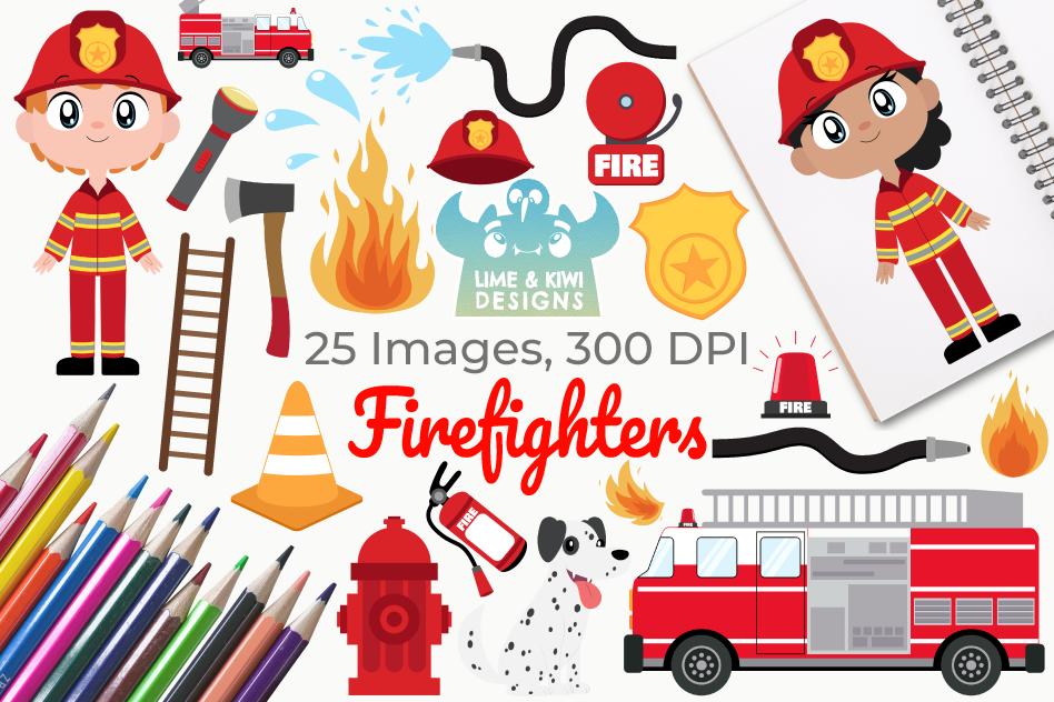 Number 1 clipart design. Firefighters instant download vector