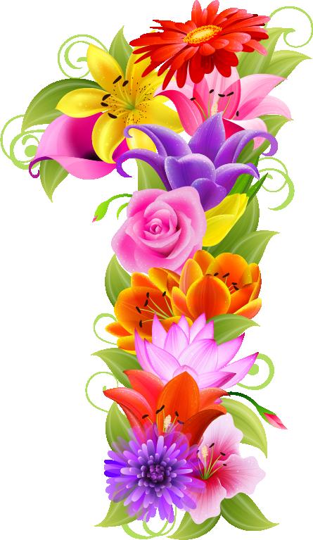 d a e. Number 1 clipart floral