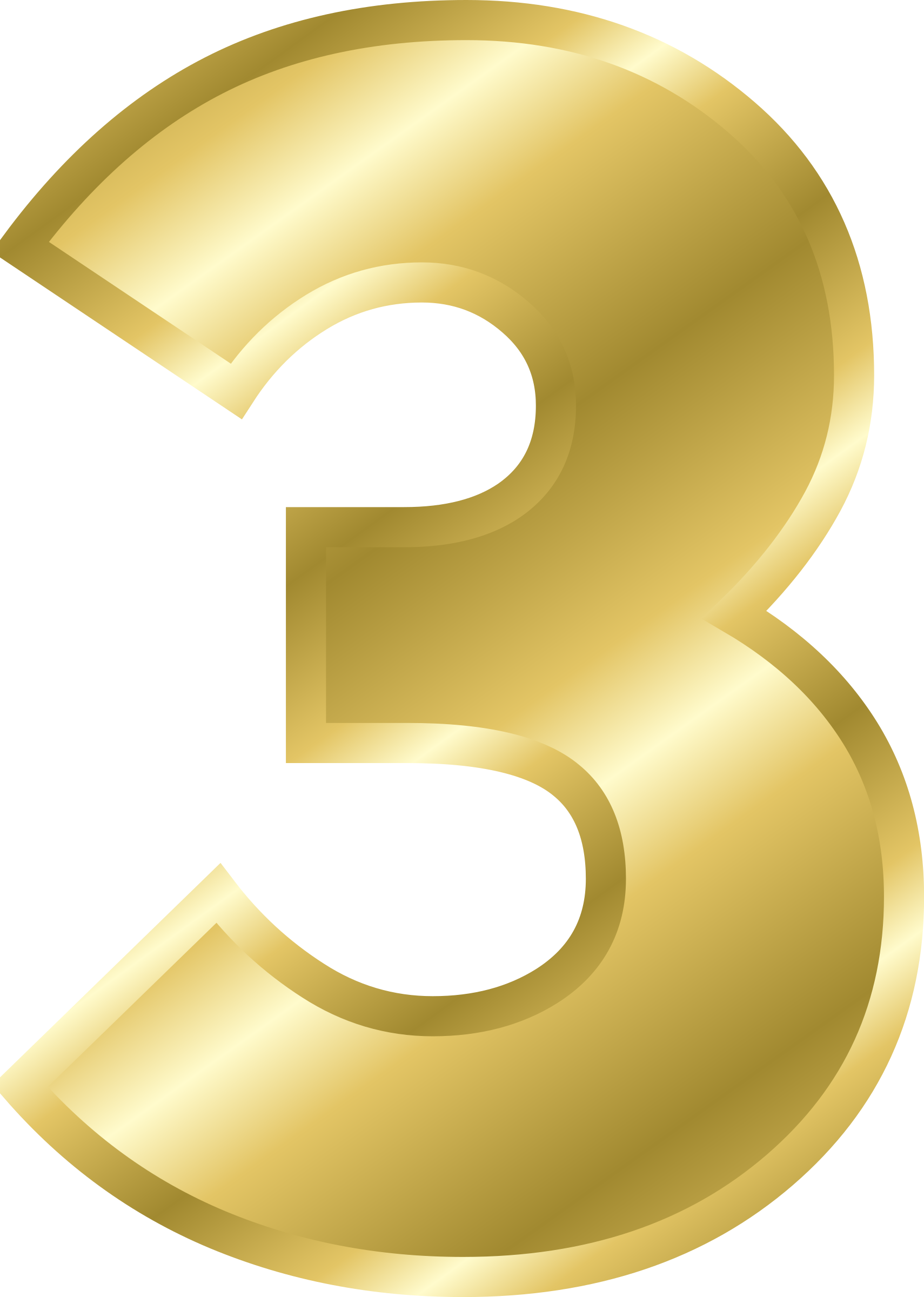 Number 3 Clipart Gold  Number 3 Gold Transparent Free For