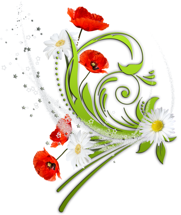 Fleurs bouquets flowers flores. Number 1 clipart no1