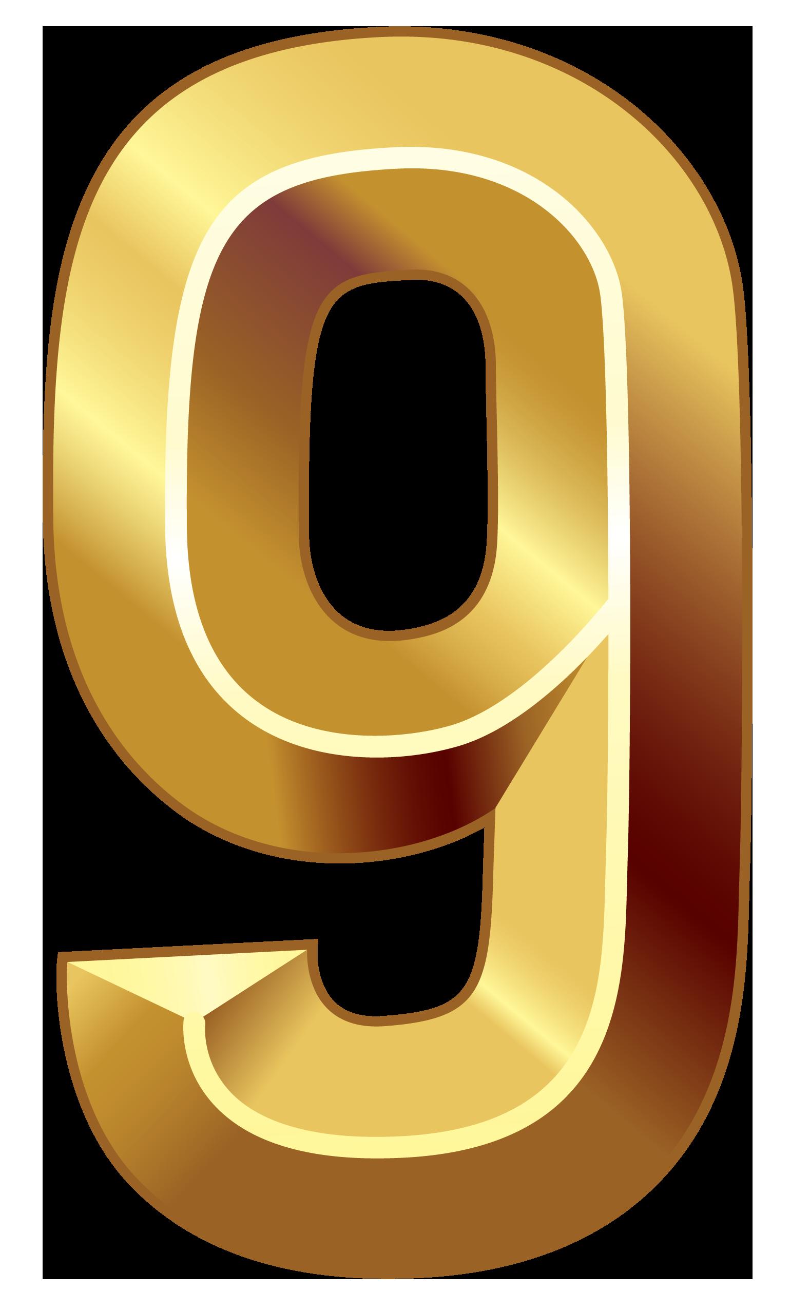Number 1 clipart number 0. Gold nine png image