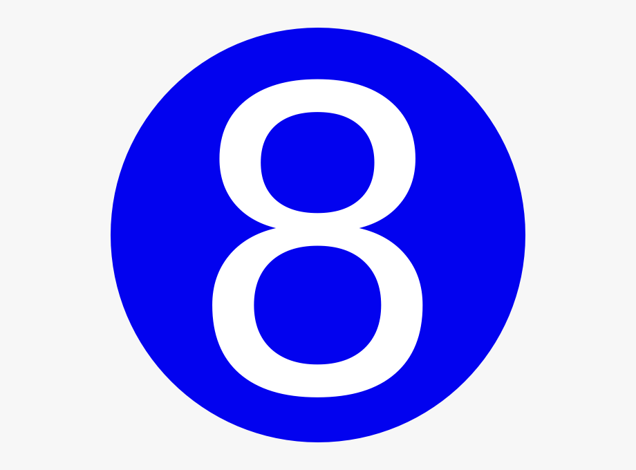 Blue in circle . Number 1 clipart number 8