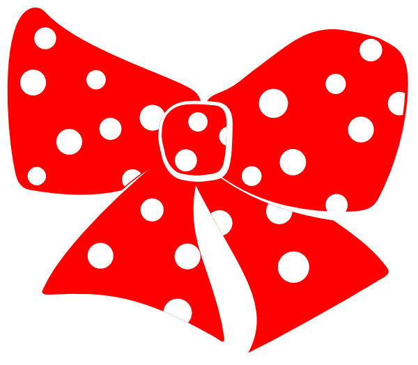 Red bow with white. Number 1 clipart polka dot