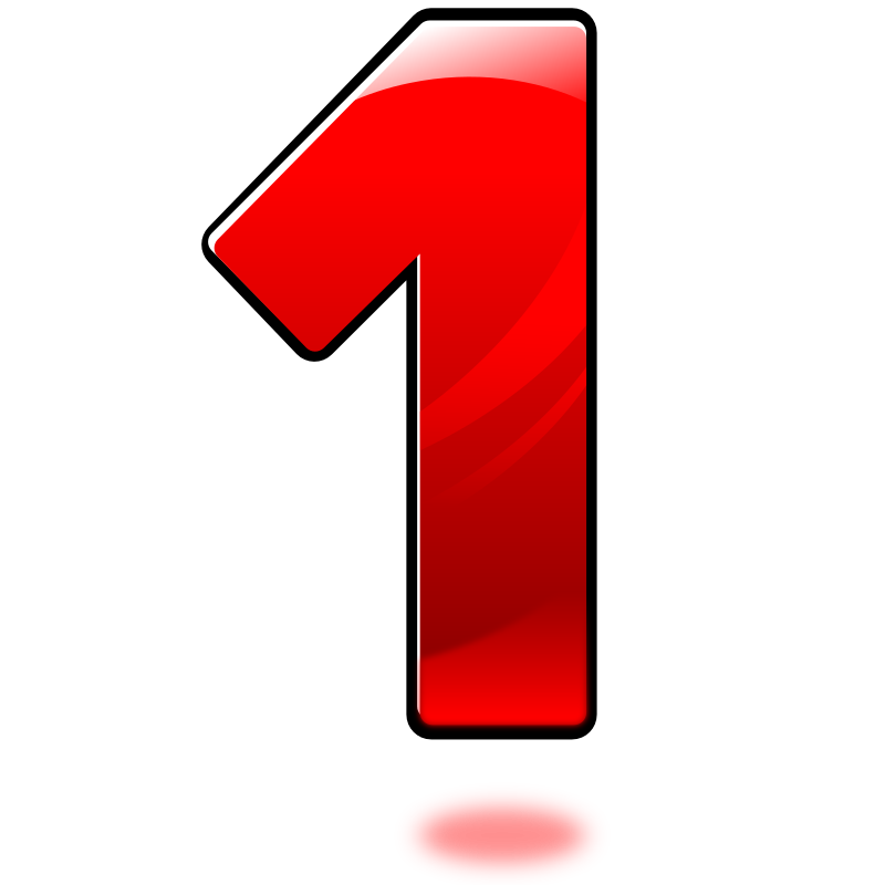 Number 1 clipart single number. Glossy one medium image