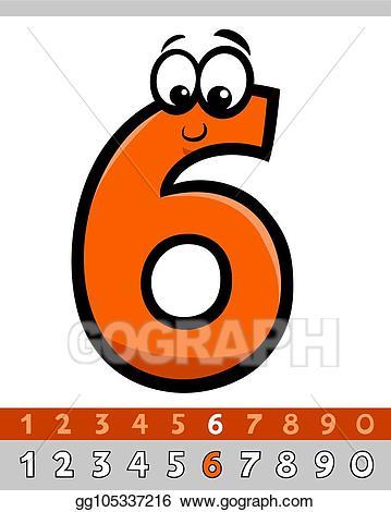 Number 4 clipart six. Vector stock cartoon character