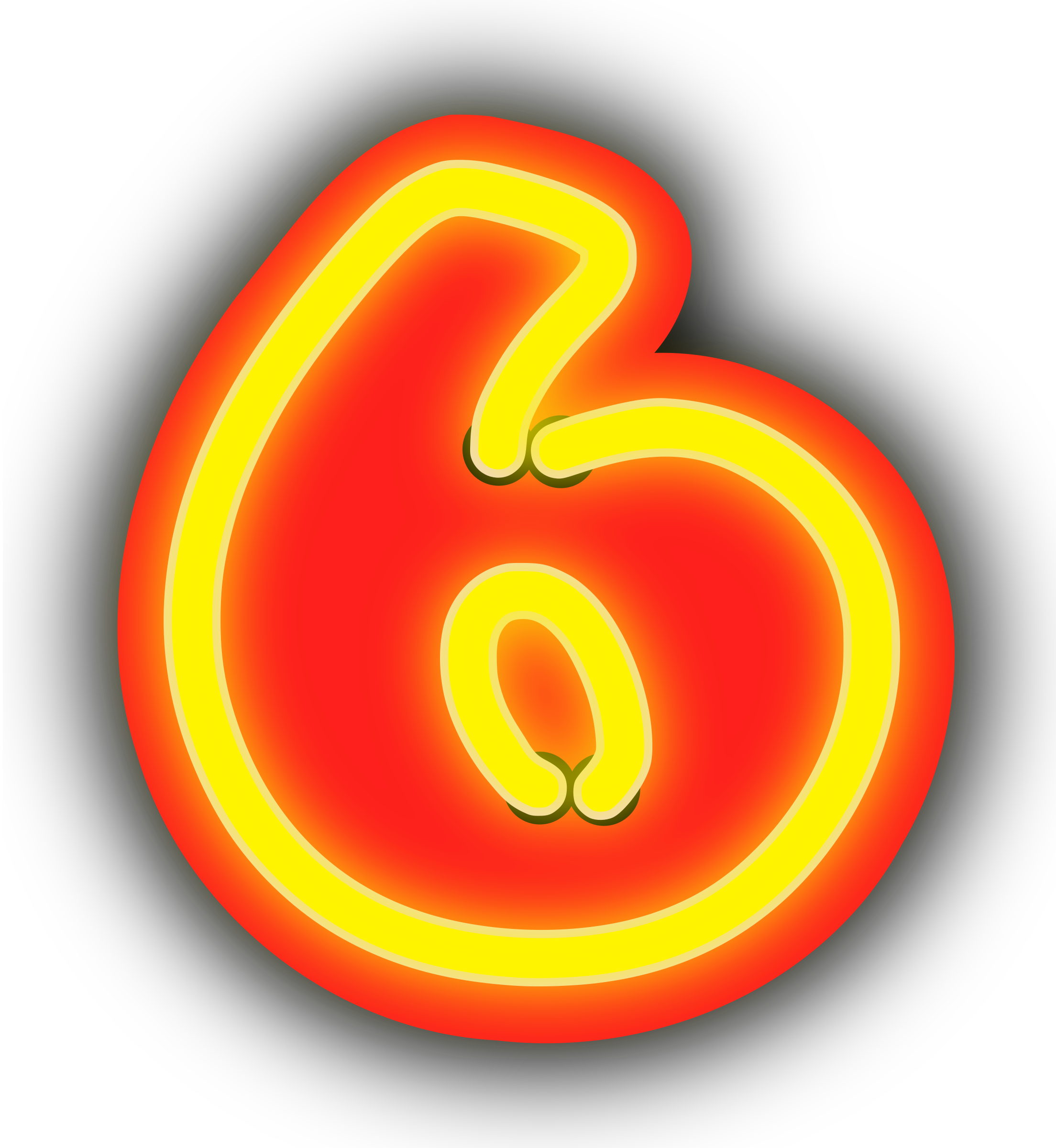 Number 1 clipart six. Neon numerals big image