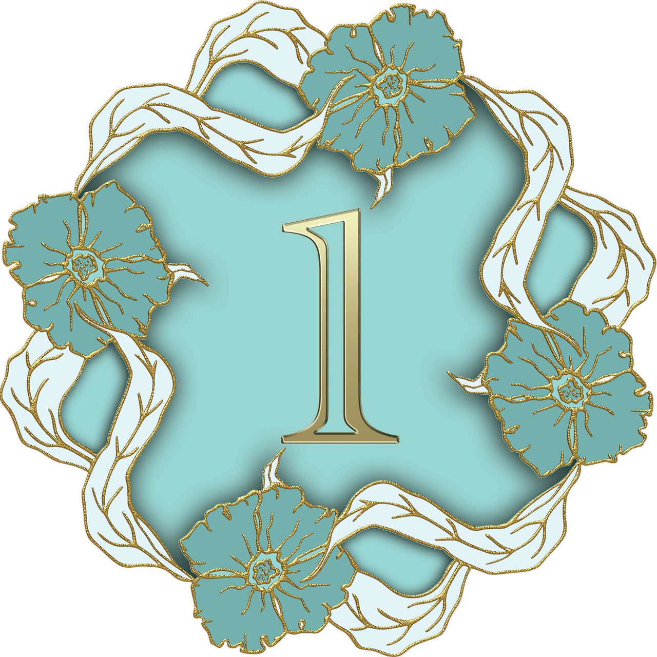 Number 1 clipart teal. Flower theme transparent png