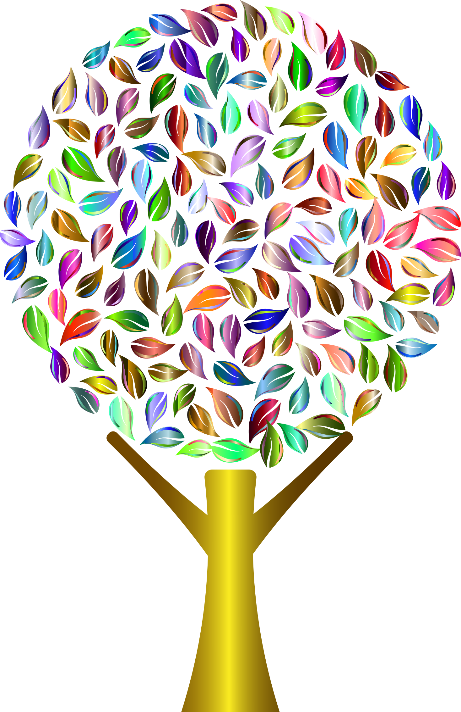 Number 2 clipart abstract. Prismatic tree no background