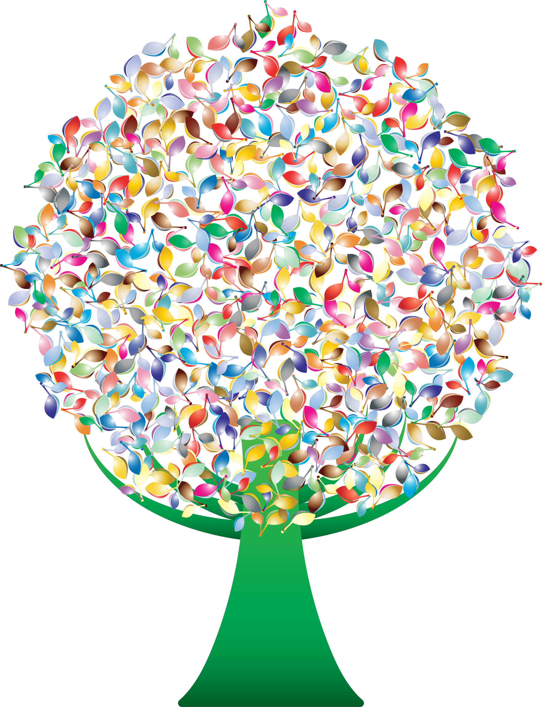 Prismatic green tree no. Number 2 clipart abstract