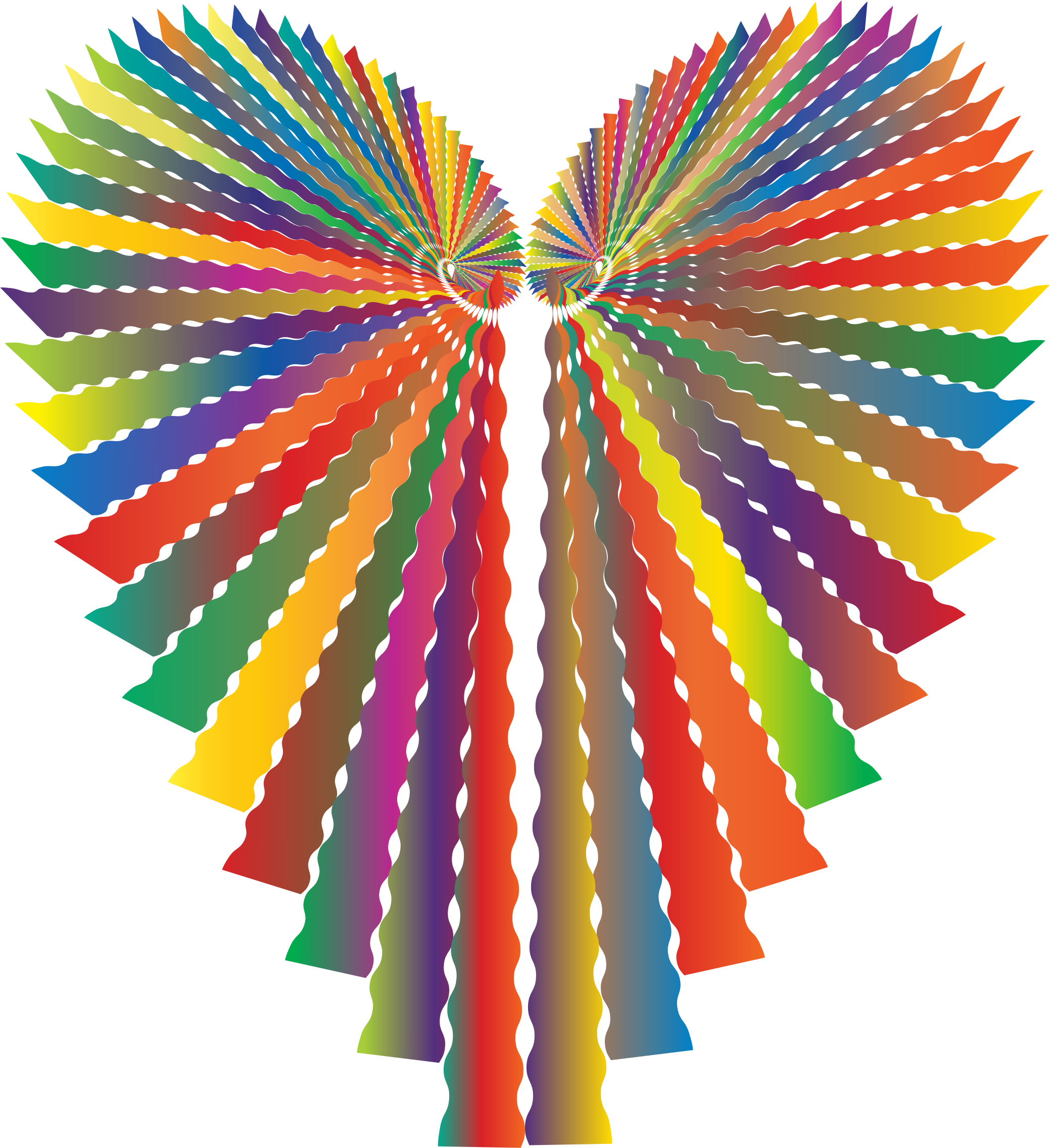 Prismatic heart no background. Number 2 clipart abstract