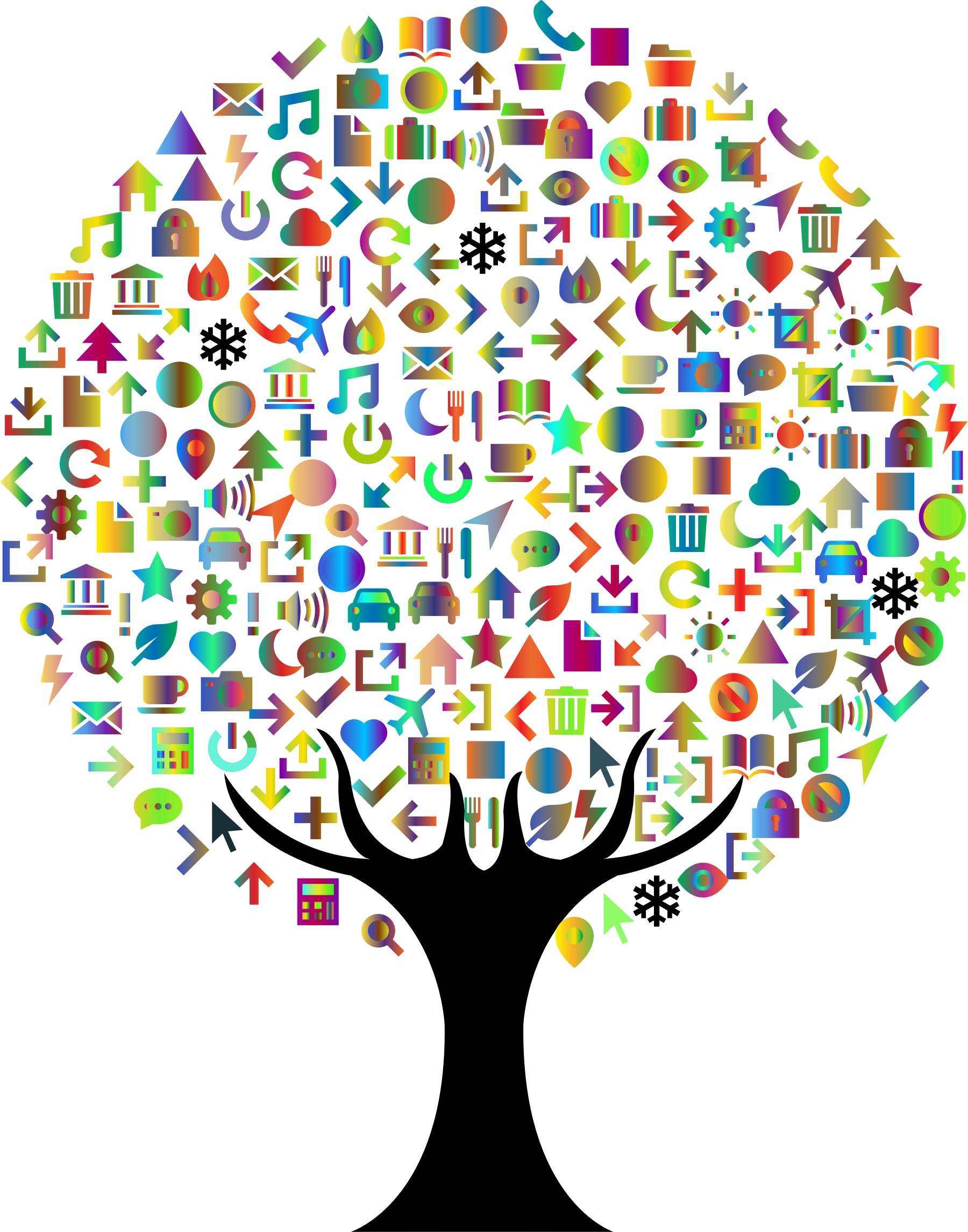 Icons tree prismatic big. Number 2 clipart abstract