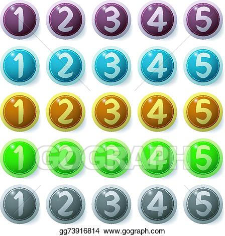 Vector buttons illustration . Number 2 clipart button