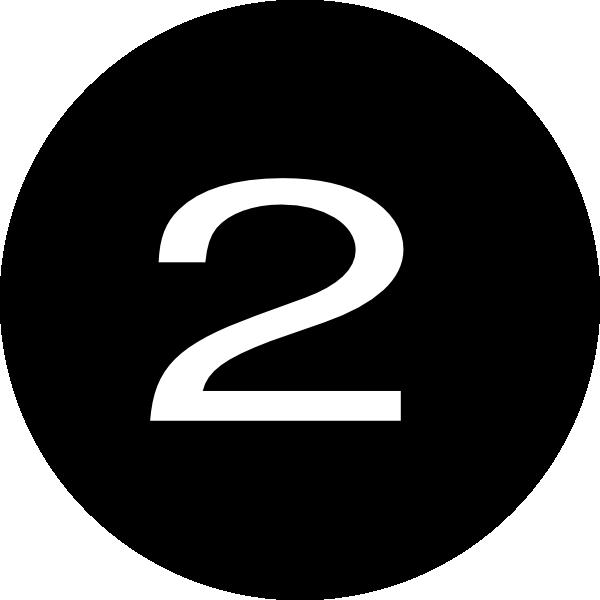Number 2 clipart different font. Black round clip art