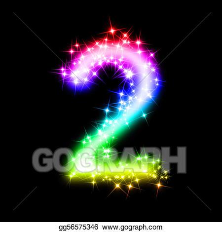 Stock illustration glitter illustrations. Number 2 clipart glittery