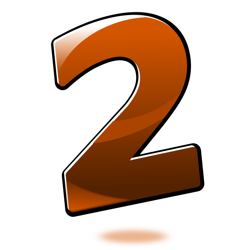 Number 2 clipart orange. Glossy two medium image