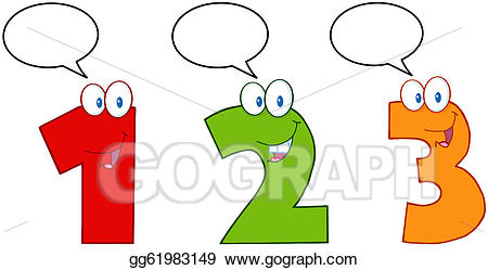 Vector art numbers one. Number 2 clipart three