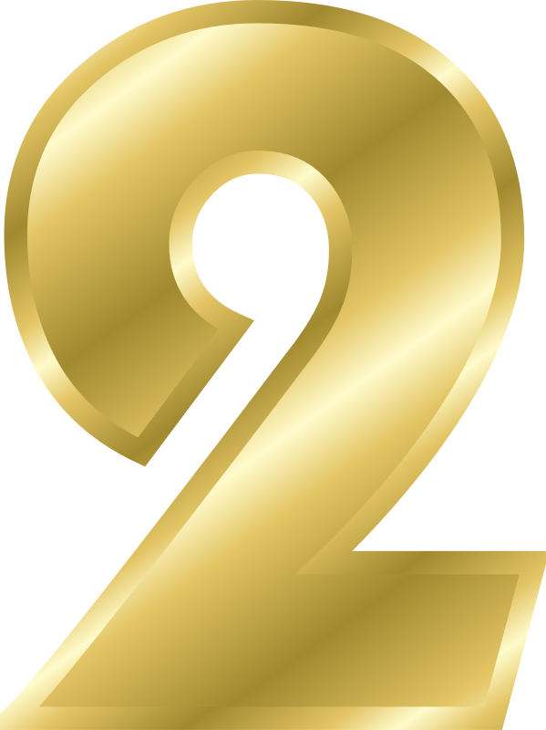 Effect letters alphabet gold. Number 2 clipart yellow