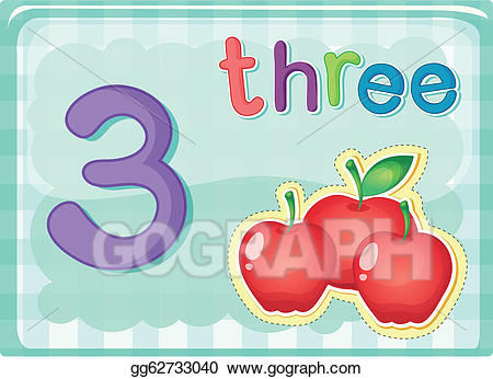 Number 3 clipart card. Vector illustration cards eps