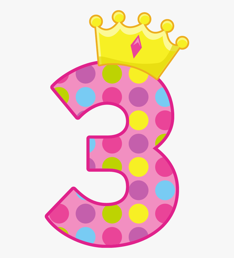 Birthday numbers cards . Number 3 clipart card