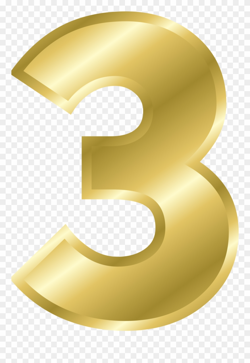 Number 3 clipart golden. Png download