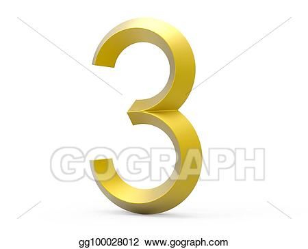 Stock illustration d render. Number 3 clipart golden