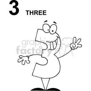 Cartoon royalty free . Number 3 clipart happy
