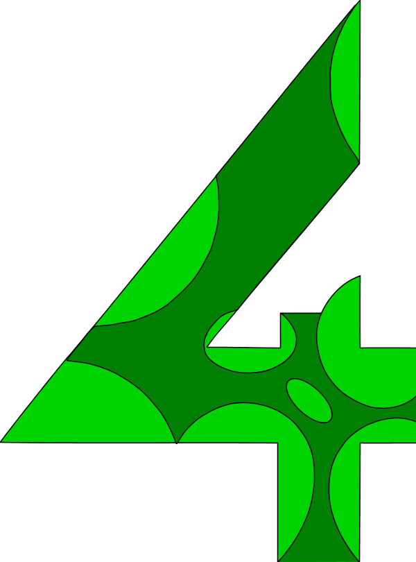 4 clipart green. Number four panda free