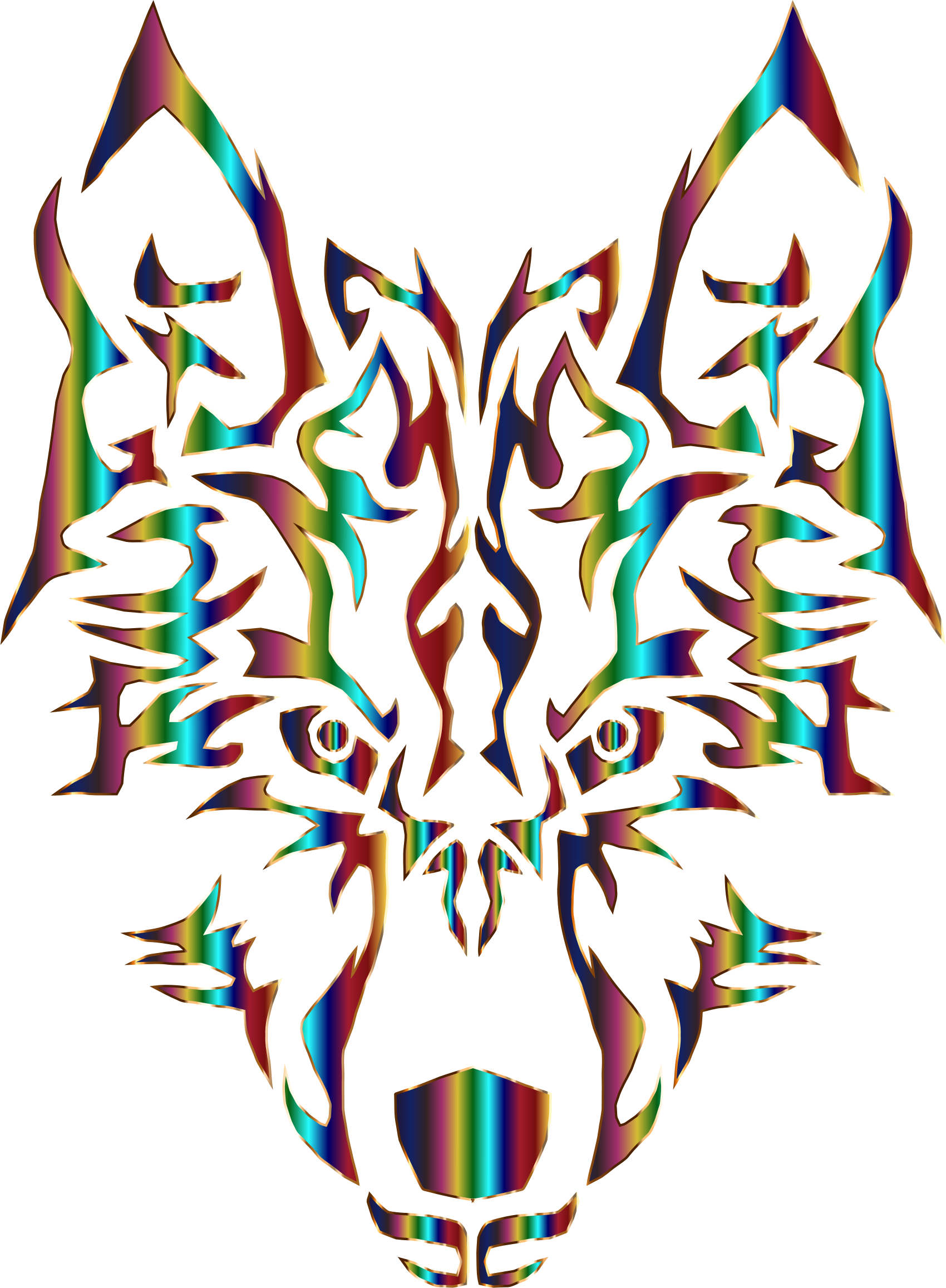 Wolves clipart vector. Chromatic symmetric tribal wolf