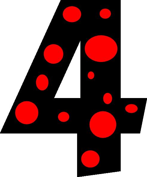 4 clipart. Number dots clip art