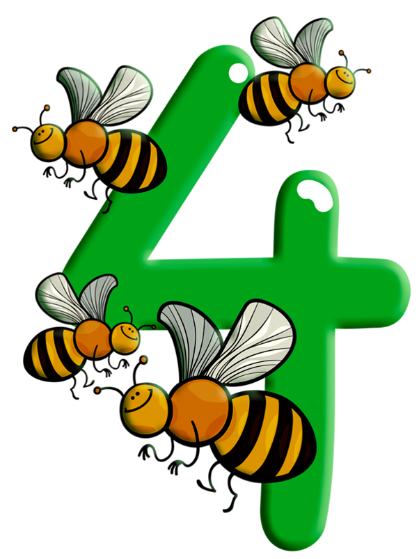Pinterest . Number 4 clipart bee