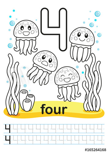 Number 4 clipart bright. Coloring printable worksheet for